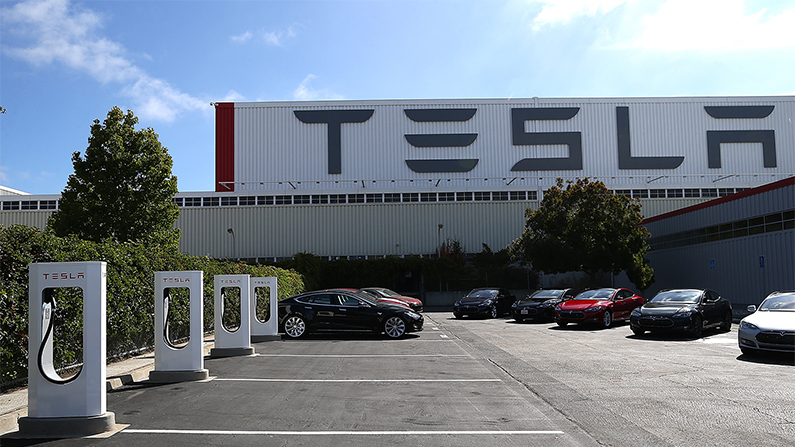A fire broke out near the Tesla Factory in Fremont, California