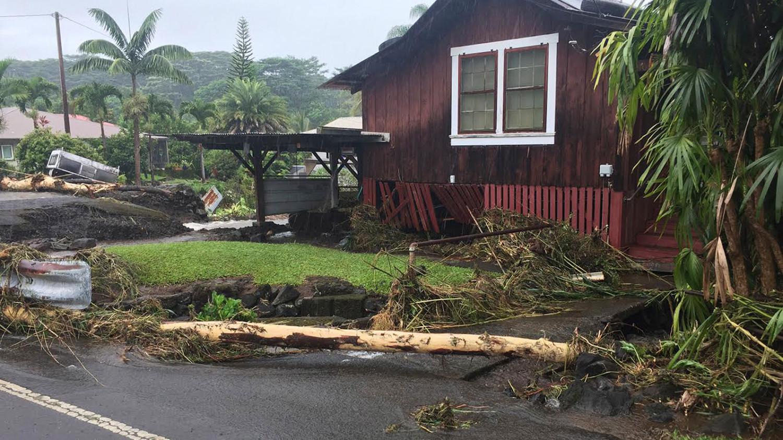 This photo shows damage from Hurricane Lane near Hilo, Hawaii