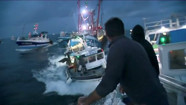 British and French fisherman clash over scallop fishing rights.