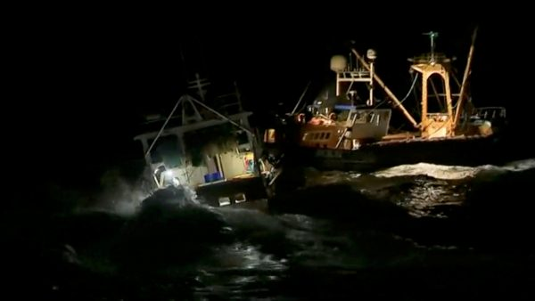 French and British fishing boats collide.
