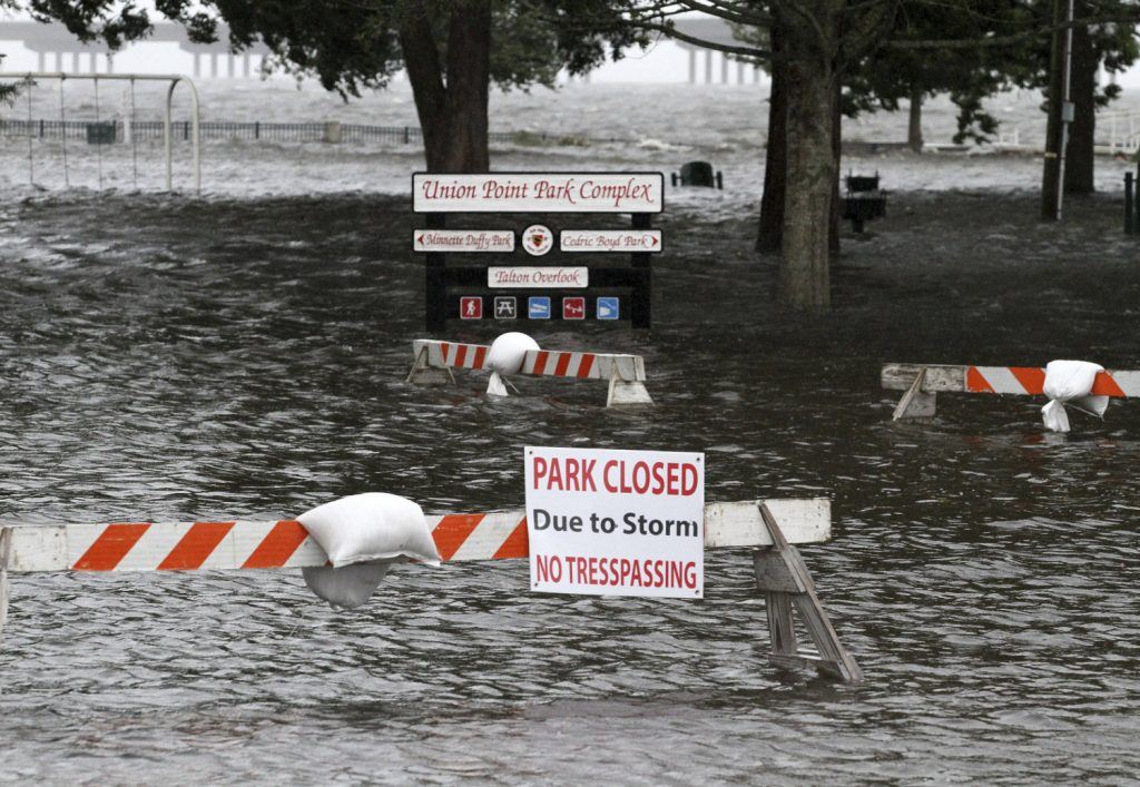 Union Point Park is flooded with rising water
