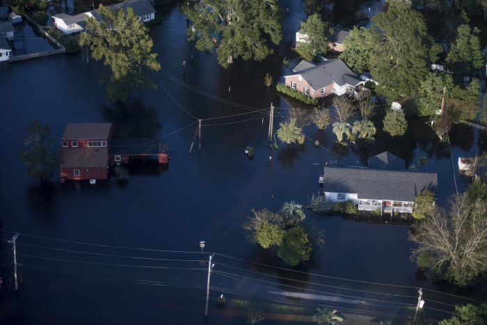 Aerial view of flooding in Conway, South Carolina
