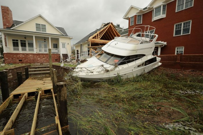 A boat smashed by hurricane
