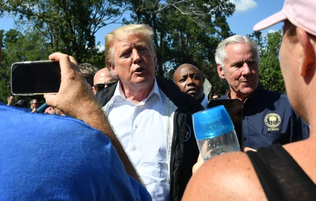 President Donald Trump greets residents after hurricane