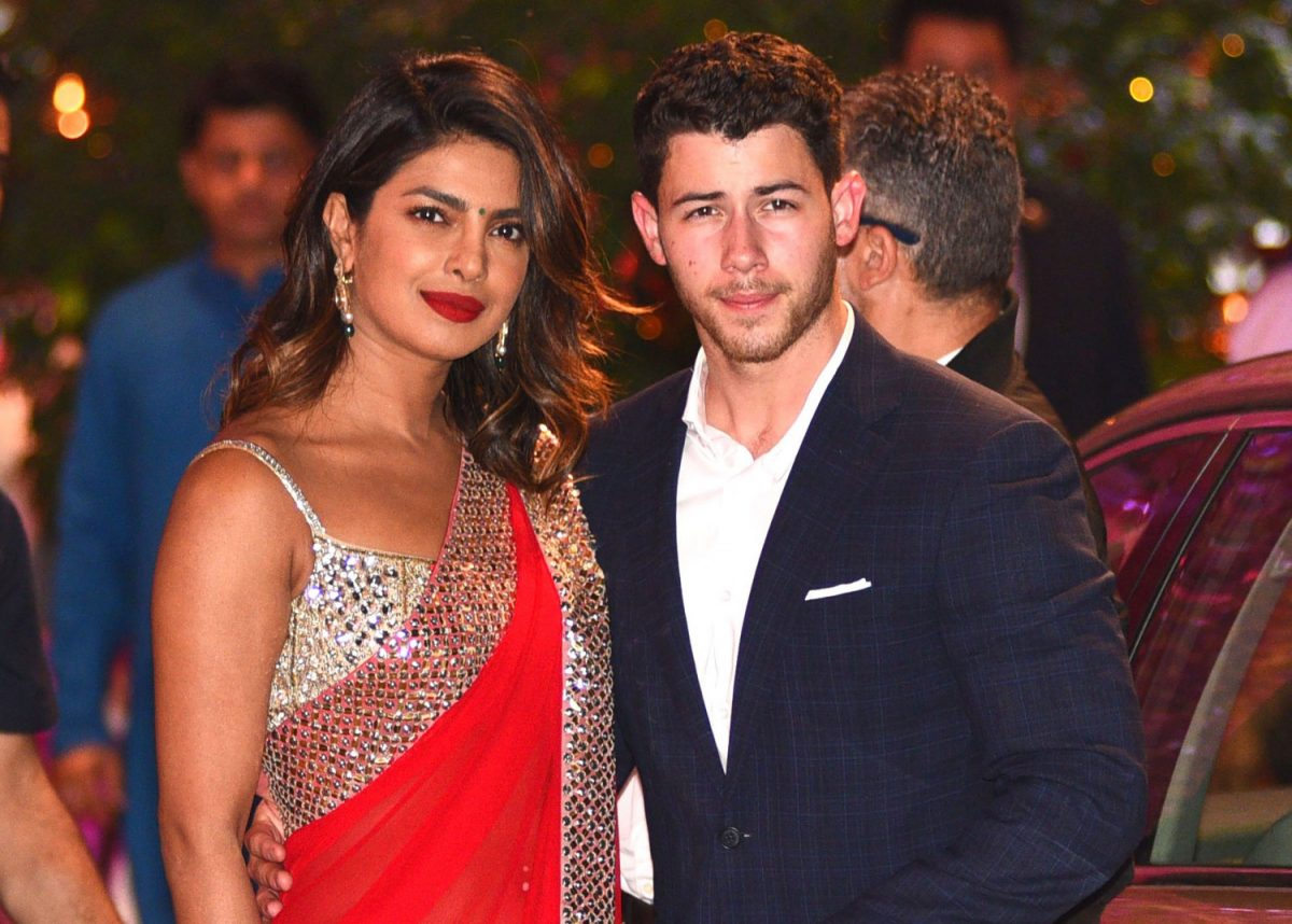Priyanka Chopra (L) accompanied by Nick Jonas