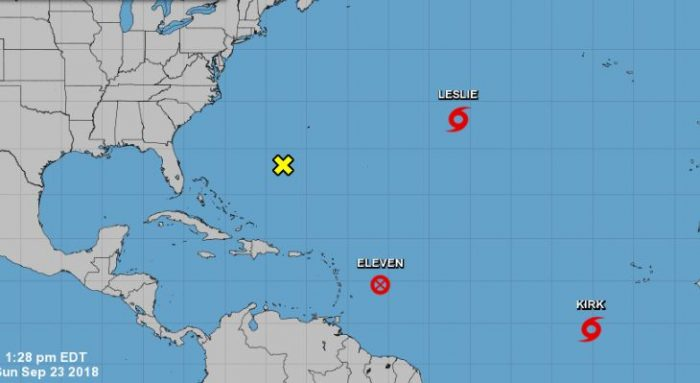Tropical storm Kirk and Leslie are pictured