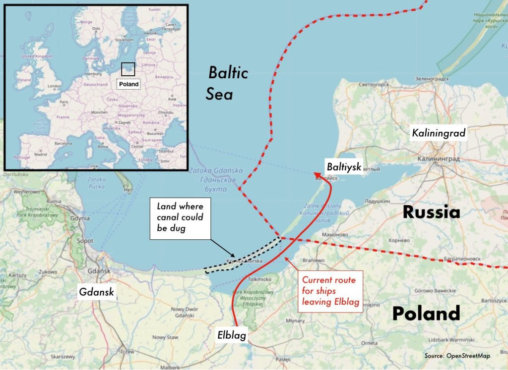 Map of proposed canal between Poland and the Baltic Sea