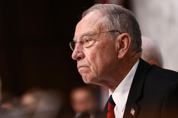 Sen. Chuck Grassley listens to Judge Brett Kavanaugh