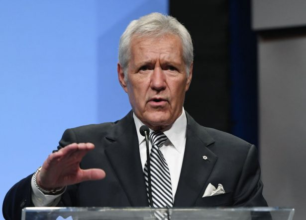 Trebek speaks at his induction into the broadcasting hall of fame