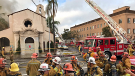 Los Angeles Historic Building Built in 1924 Was in a Largely Smoldering Fire