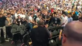 Brawl Erupts in Audience at McGregor-Nurmagomedov Weigh-In