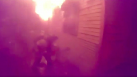 Trapped Man Sticks Hand out of Burning House: Dramatic Rescue Cam