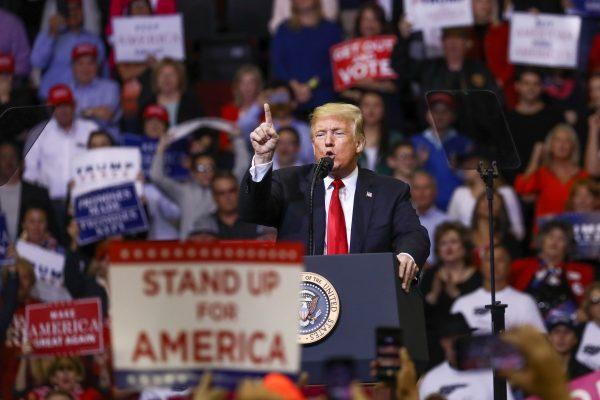 President Donald Trump at a MAGA rally