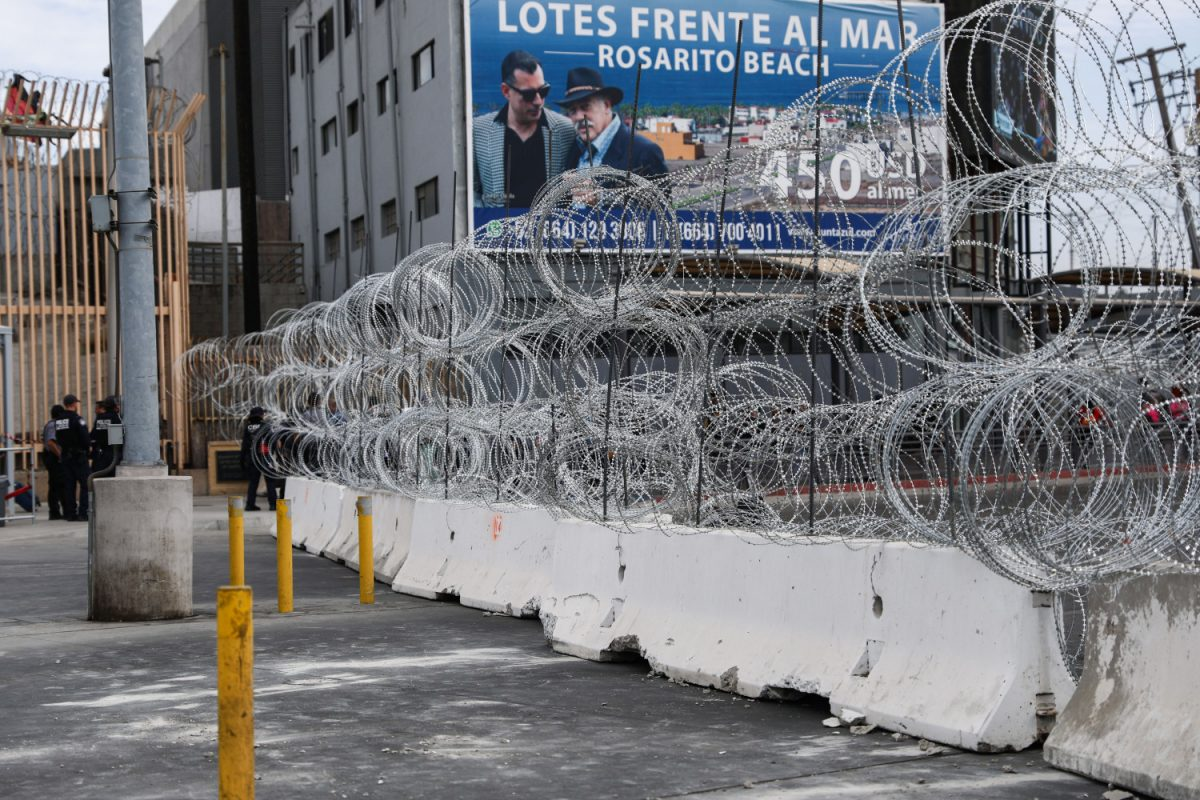Concertina wire at border port of entry