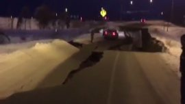 'Major Infrastructure Damage': Video Shows Earthquake-Damaged Anchorage Road With Stranded Car