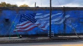 Pizza Parlor's Flag Mural Defaced After Antifa Protest