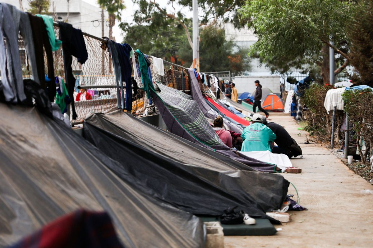 tents on sidewalk in tijuana