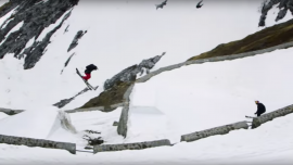 Freestyle Skiers Complete Breathtaking Mountain Run