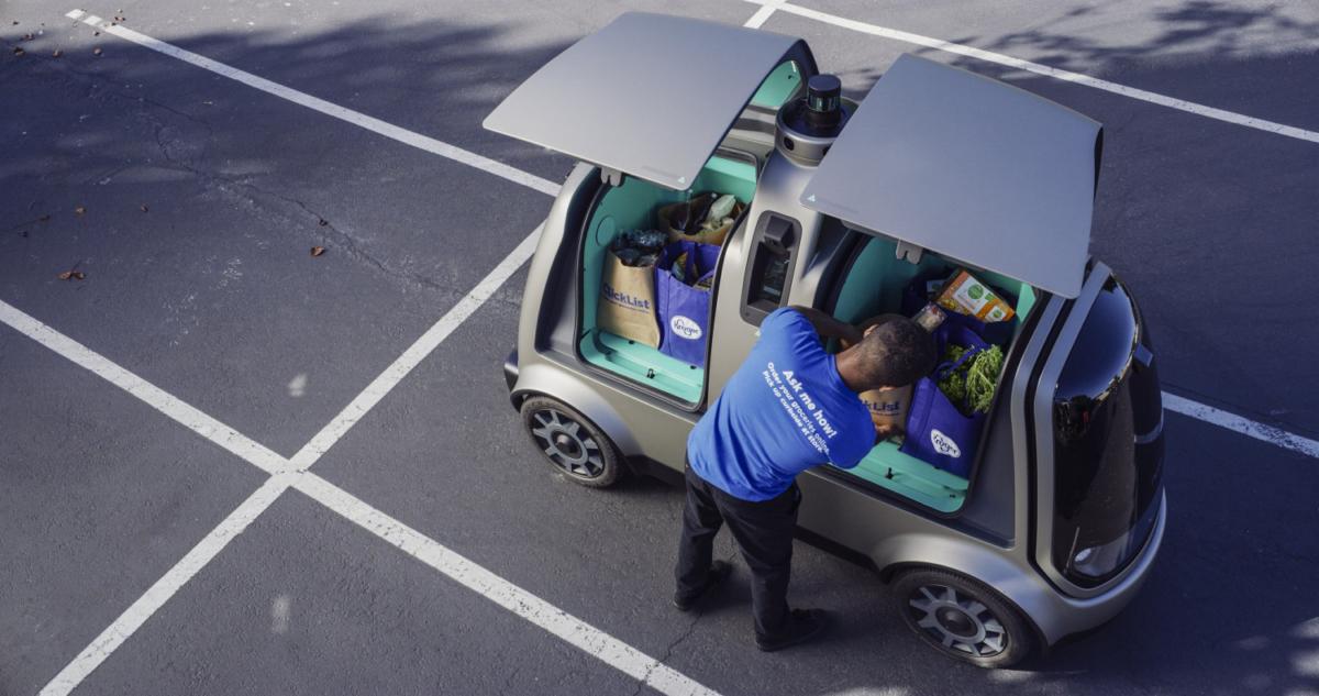 Kroger Co shows an autonomous vehicle