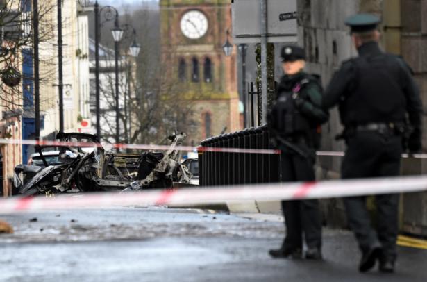 Police guard area of blast