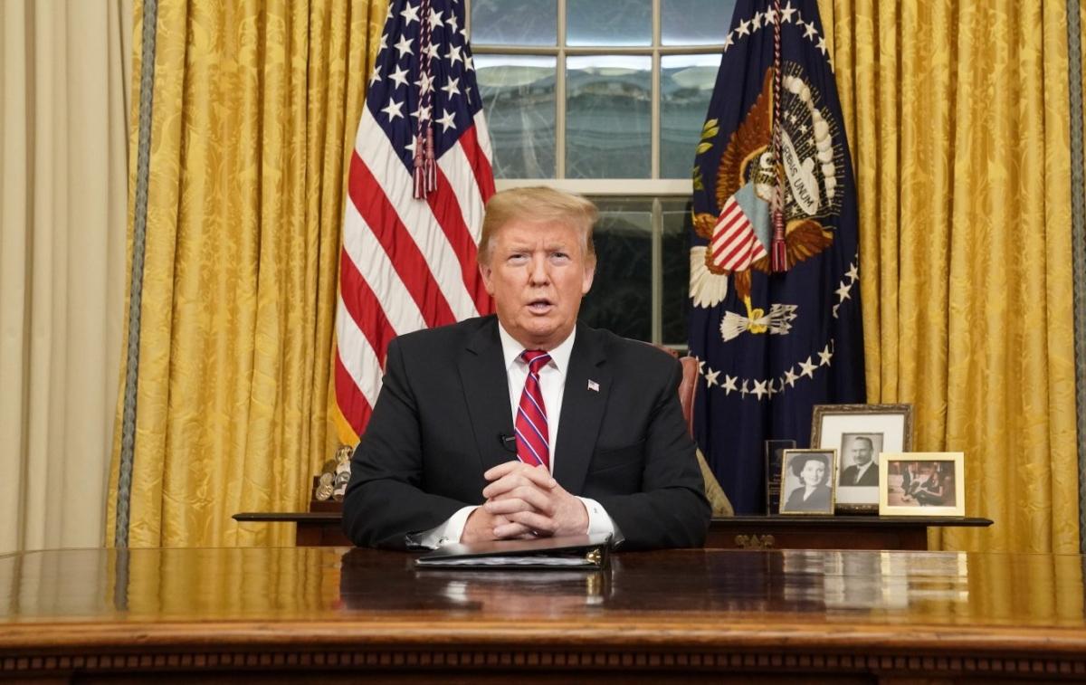 Donald Trump makes Oval Office speech