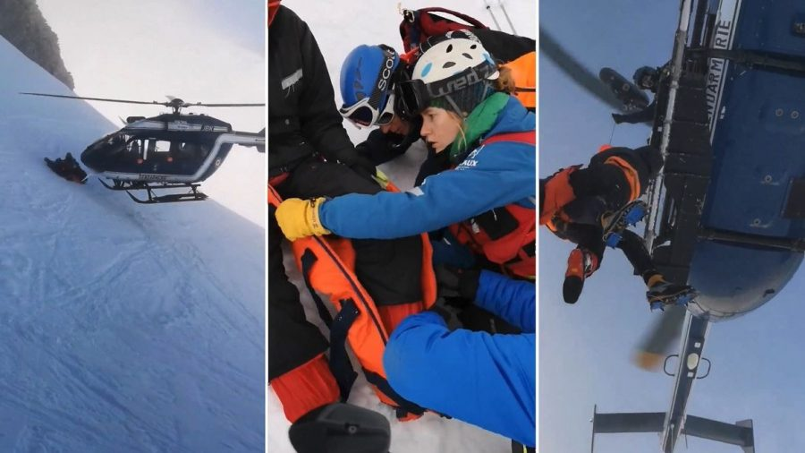 Helicopter Pilot Shows Incredible Skill In Rescue of Injured Skier on French Mountainside