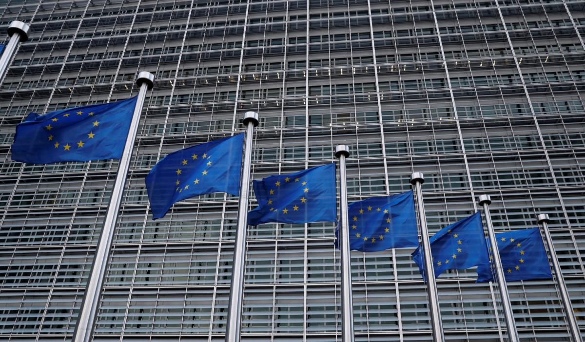 European Union flags outside the EU Commission headquarters