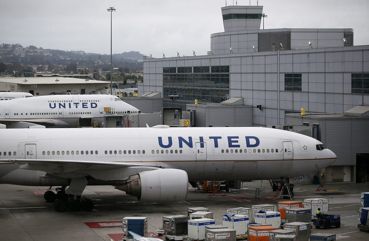 United Airlines planes sit on the tarmac