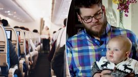 Dad flying alone with fussy baby gets much-needed rest when kind stranger steps in to help