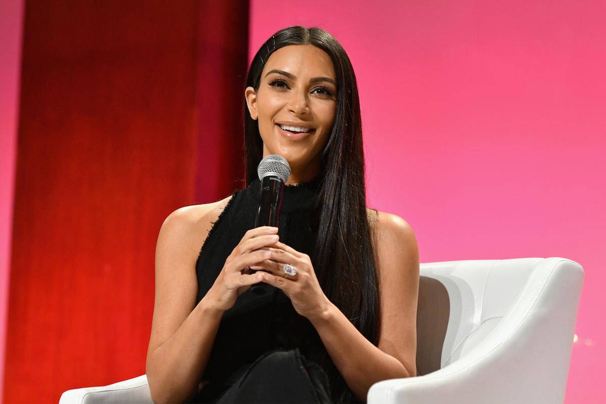 Kim Kardashian speaks at The Girls' Lounge.