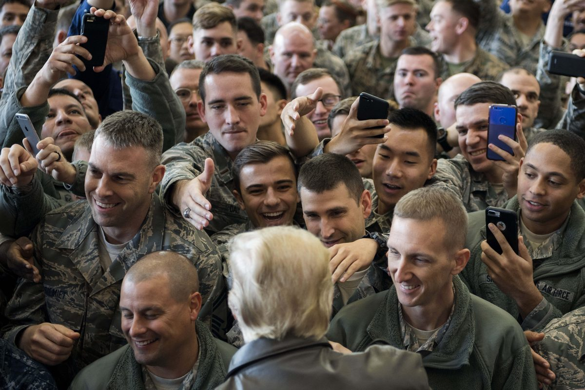 President greets troops