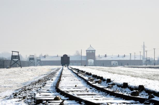 railway tracks at Auschwitz