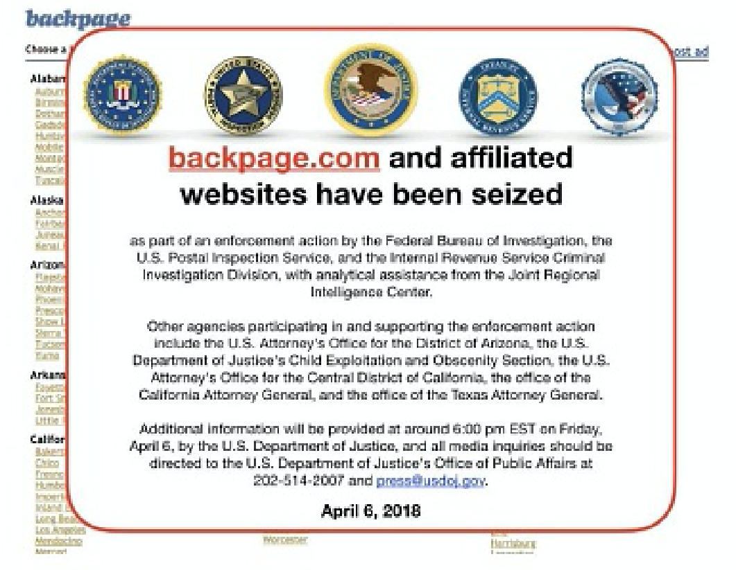 Image of Backpage.com and affiliated websites that have been seized by the FBI. On Jan. 14, 2019. (GettyImage)