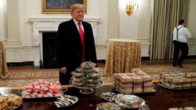 Trump Serves Champs Dinner as WH Staff Remain on Furlough