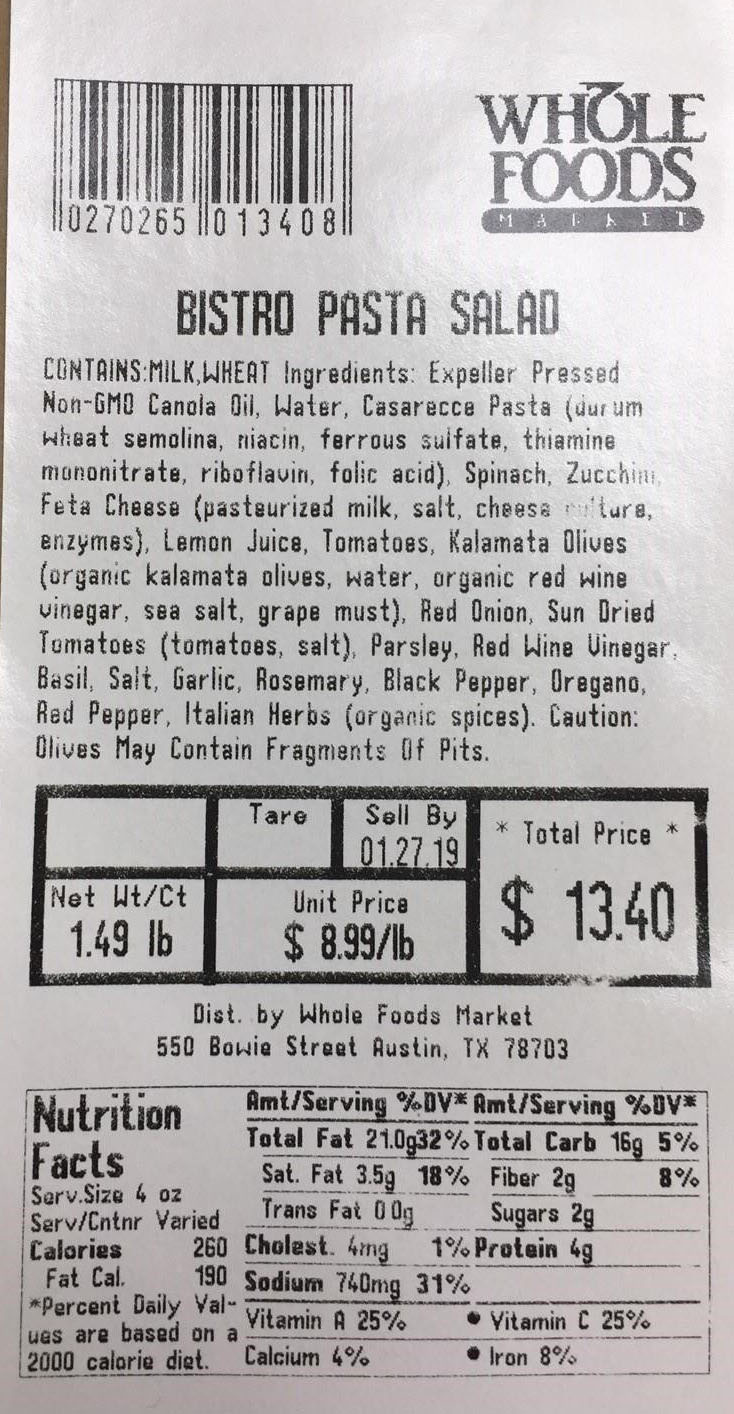 whole foods label