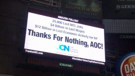 Ocasio-Cortez and Socialism Denounced by NYC Billboard