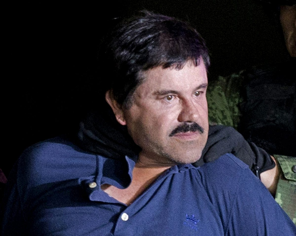 """Drug lord Joaquin """"El Chapo"""" Guzman is made to face the media in Mexico City"""