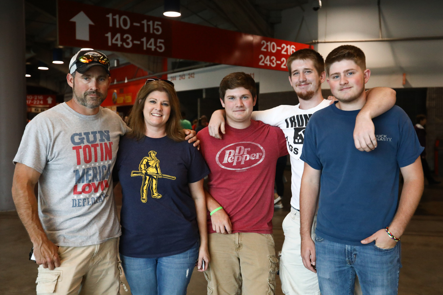 Dan Cooley (L) with wife and three sons before a Make America Great Again rally