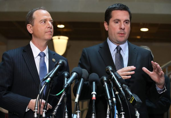 House Intelligence Committee ranking member Rep. Adam Schiff (D-Calif.), (L) and Chairman Devin Nunes,