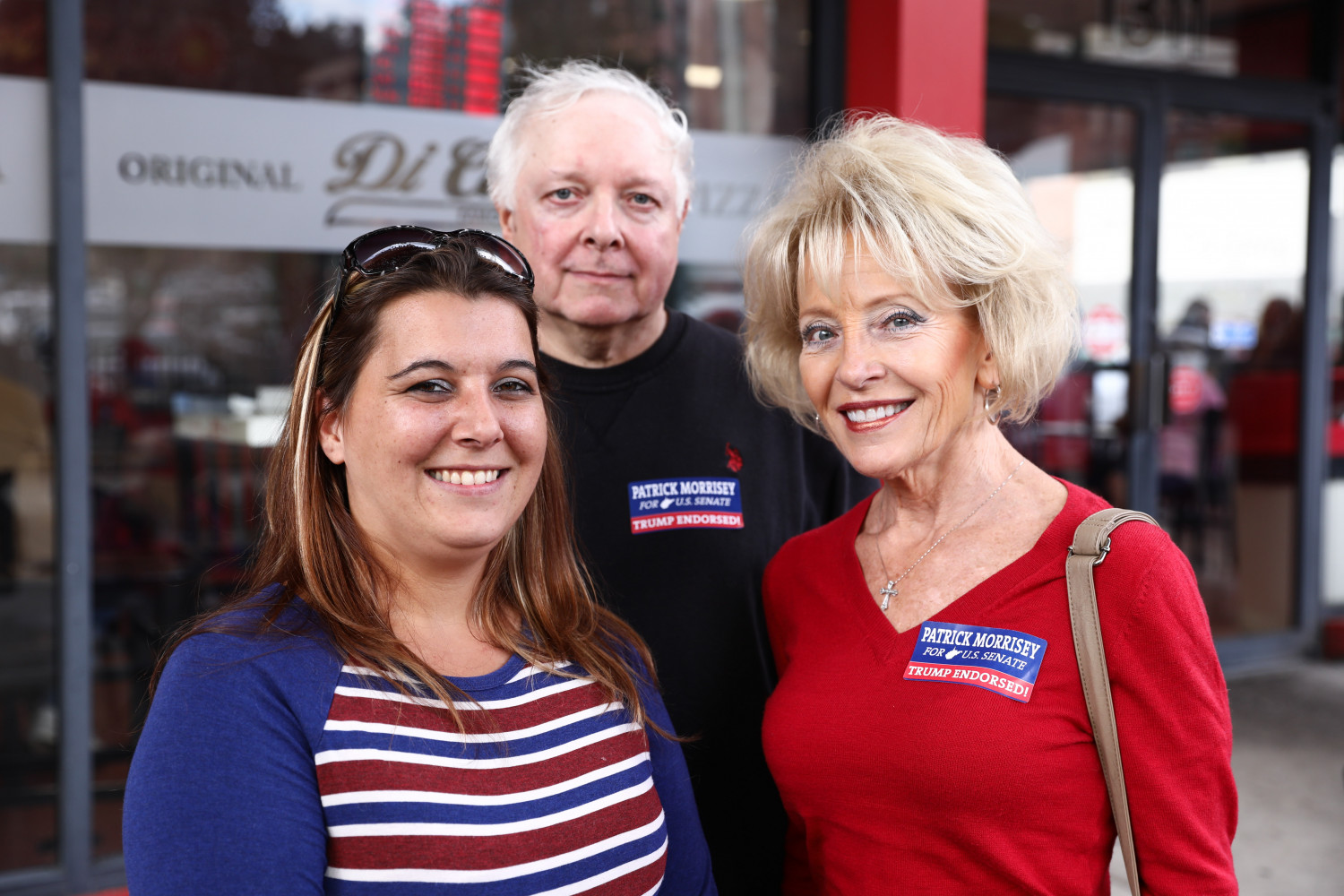 Jo Ann Gould (R) and friends before a Make America Great Again rally