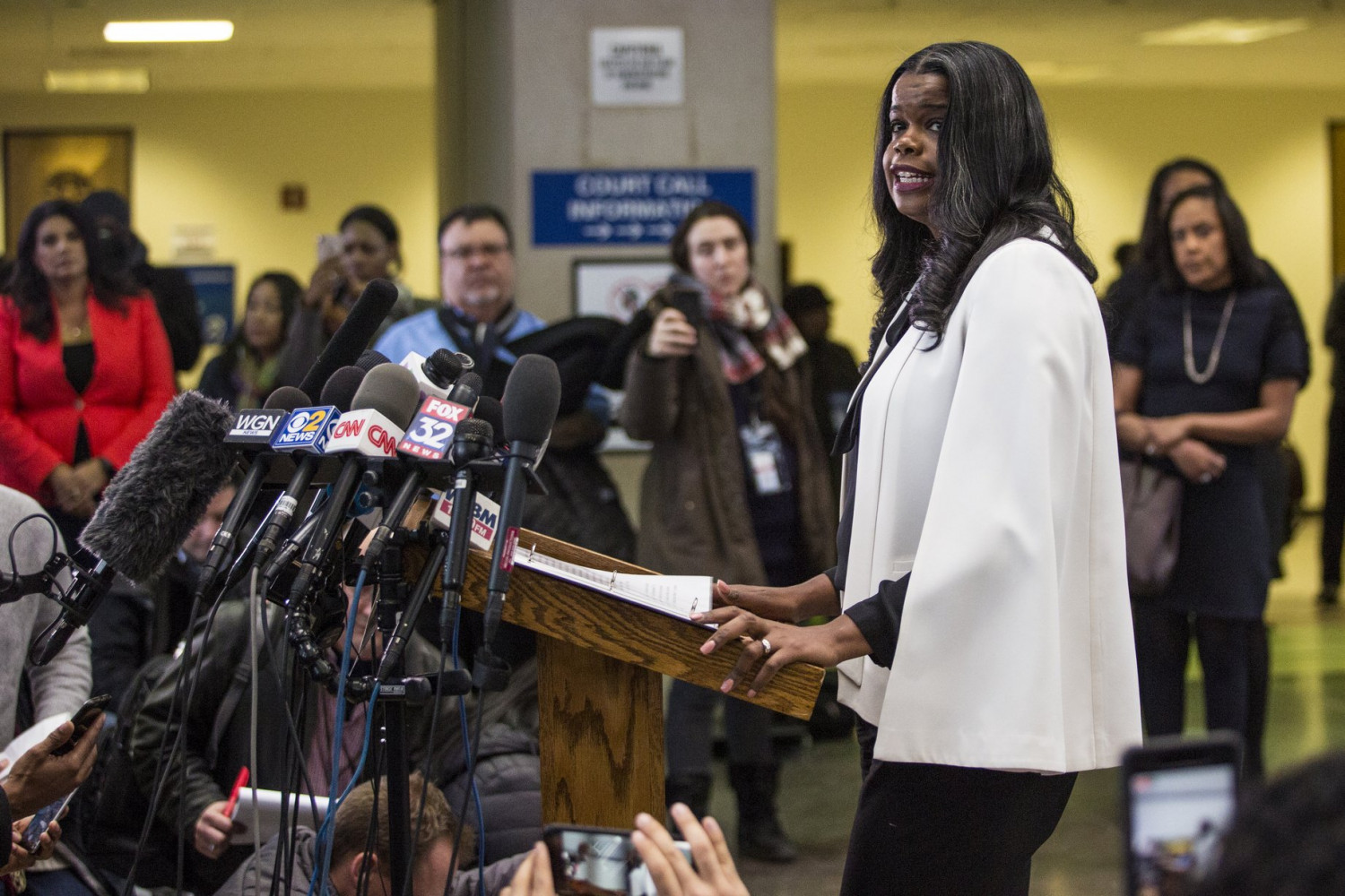 Cook County State's Attorney Kim Foxx speaks to reporters
