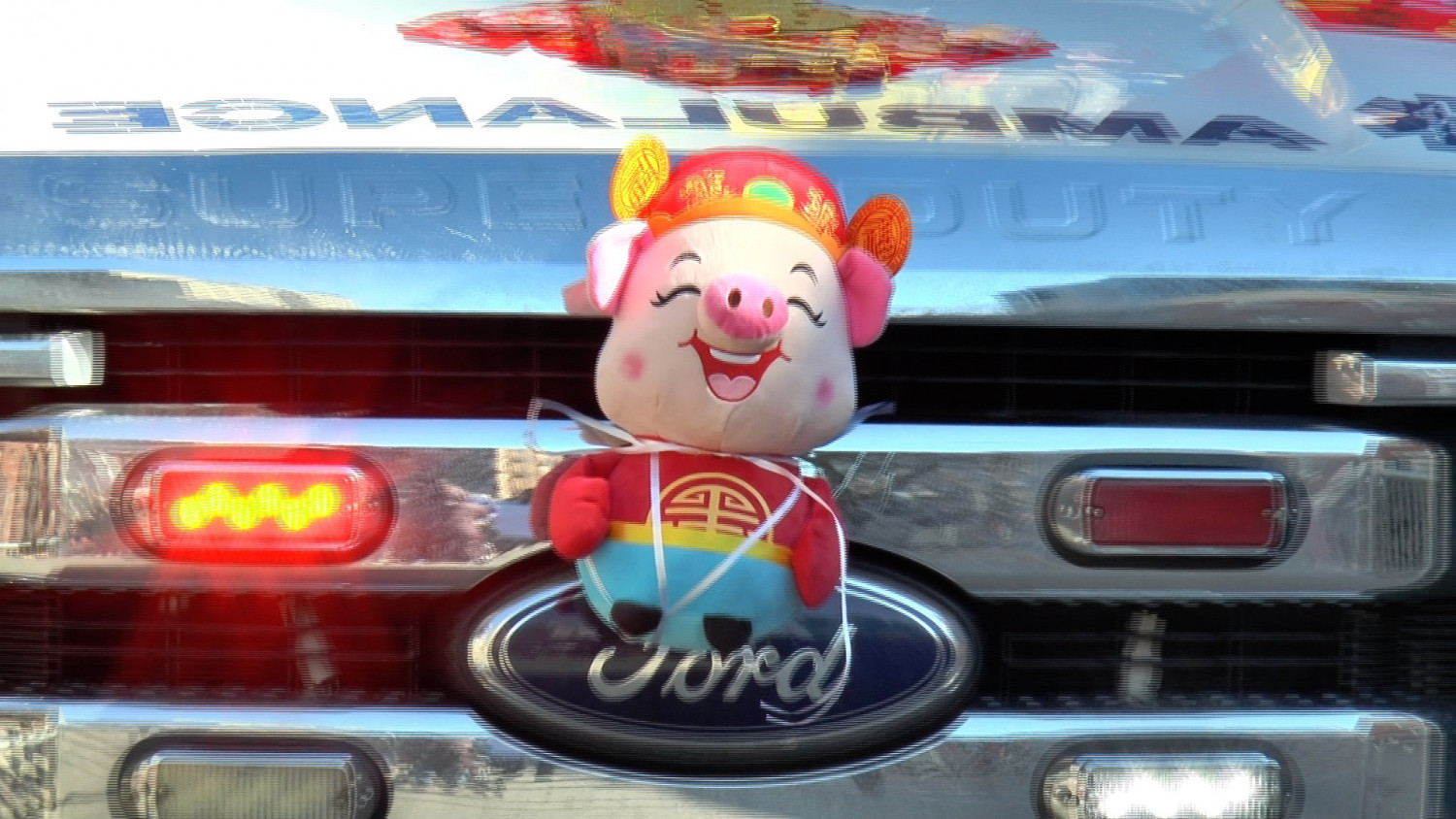 Stuffed pig on Ford bumper in Lunar New Year parade in Flushing.