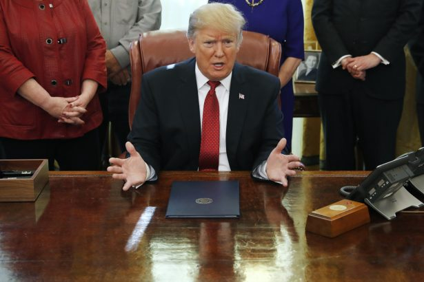 President Donald Trump speaks during a meeting with American manufacturers in the Oval Office of the White House, Thursday, Jan. 31, 2019, in Washington. (AP/Jacquelyn Martin)