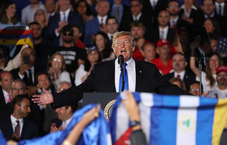 President Donald Trump speaks to a Venezuelan American community