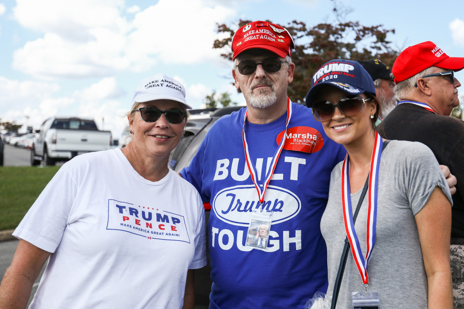 Rita Eveland (L) and friends before the Make America Great Again rally