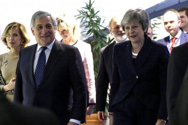 EU President Antonio Tajani and British Prime Minister Theresa May
