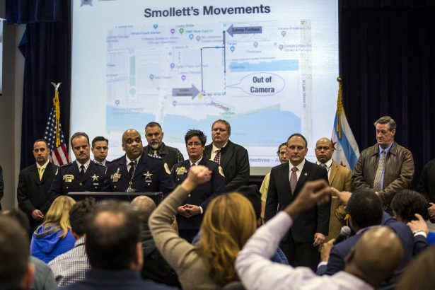 Chicago Police Supt. Eddie Johnson, fourth from left, speaks during a press conference at CPD headquarters,