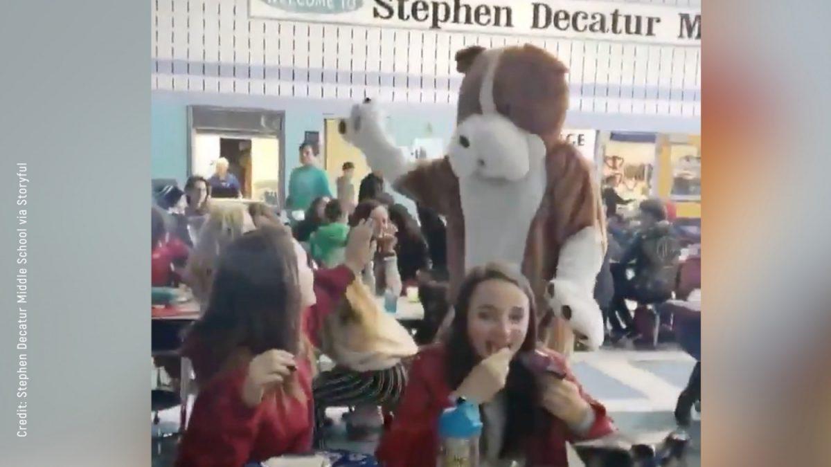 emotional homecoming bulldog mascott