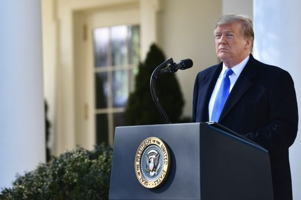 US President Donald Trump delivers remarks in the Rose Garden