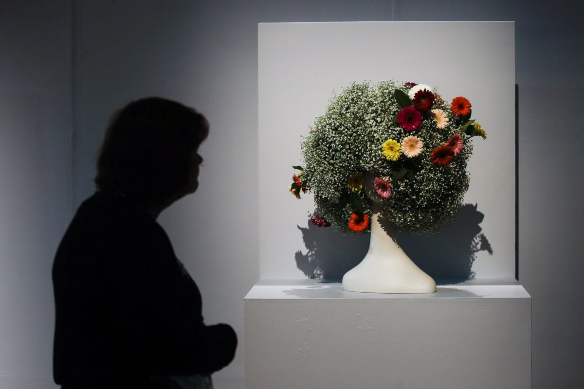 Backed pedestal arrangement by Karena Valentine and Eleanor P Deacon